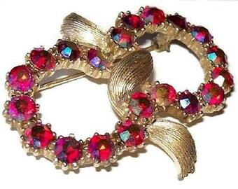 "CORO Brooch Pin Red Aurora Borealis Rhinestones Gold Metal Double Circles 2 1/4"" Vintage"