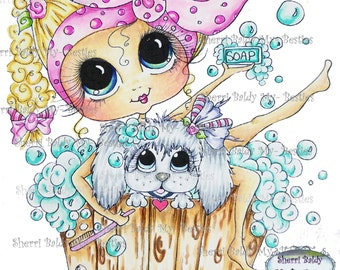 INSTANT DOWNLOAD Digital Digi Stamps Big Eye Big Head Dolls NEW Scan0001 My Besties Pets Puppy Spa By Sherri Baldy