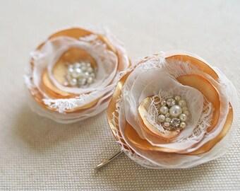 Bridal Hair Acessories Wedding Lace Flowers Rustic Wedding Hair Flowers Headpiece Fascinator Vintage Lace Hair Clip Ivory Gold Hair Flower