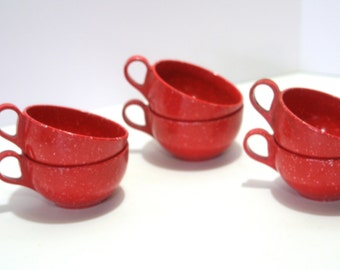 Vintage Red and White Melamine Coffee Tea Cups Set of 6 speckled Retro Mid Century Melmac for Glamping or Picnic
