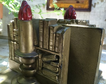 Vintage Library Books Bookends Candle Flame