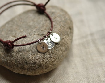 Sterling silver and leather adjustable bracelet, with up to 3 initial charms