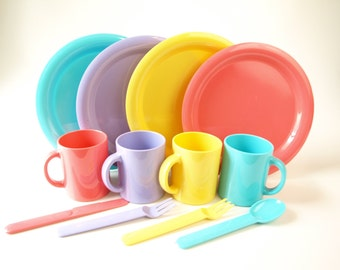 vintage 80s colorful plastic picnic set with plates mugs and flatware retro dish beach play dishes rainbow cups pink yellow blue purple