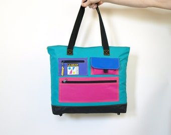Rad vintage 80s L.A. Gear vinyl tote gym bag plus matching wristband neon pink aqua blue purple