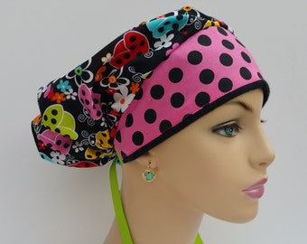 Bouffant Cap/Medical Scrub Hat -   Lady Bugs and Butterflies -Hot Pink Polka Dots Rim  - 100 % cotton