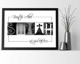 Anniversary Personalized Gift  - Framed or Print -  Custom Gift For Couples -  Letter Art Alphabet Photos  - Free Shipping and Free Proof
