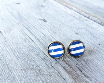 Handmade Vintage Inspired Navy Stripes Earrings