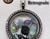Mercury Retrograde Crystal Pendant in Gun Metal Silver with Rhinestones