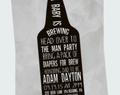 Dadchelor Baby Shower Invitation Mens Beer Belly Invites Modern Diaper Party Typography Bottle Printable DIY or Premium Printed Sprinkle
