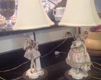 Porcelain figurine accent lamps