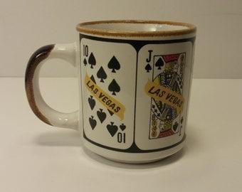 Vintage 1960s LAS VEGAS Royal Flush Souvenir Coffee Mug, Tea Mug, Coffee Cup, Tea Cup - Gambler Gift, Casino Lover