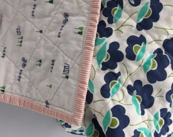 SALE Modern Whole Cloth Baby Quilt - Bicycles and Flowers