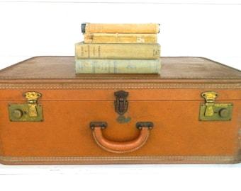 Vintage Leather Suitcase Luggage Stratosphere