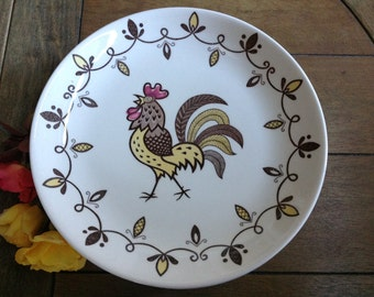 6 Chanticleer Rooster Dinner Plates VIntage Rooster Plates made in Japan