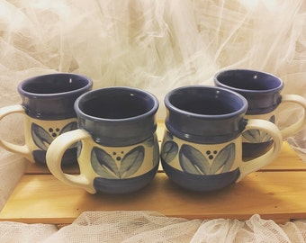 Vintage blue stoneware Coffee mugs, Blue stoneware mugs, Blue stoneware mugs, blue coffee mugs, blue and white coffee mugs (4 coffee cups)