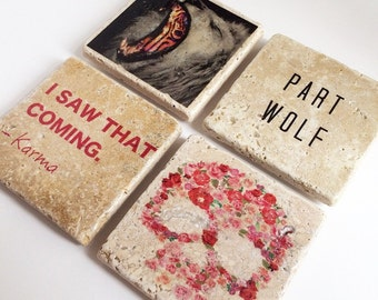 The Rebel Collection, Handmade Tumbled Tile Coasters