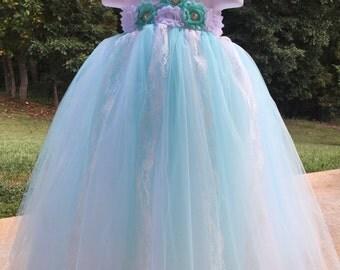 Flower Girl Tutu Dress (Aqua/White)