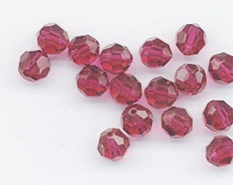 24 gorgeous Swarovski crystals - discontinued color - art 5000 - 6 mm - ruby