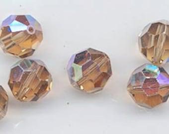24 gorgeous Swarovski crystals - art 5000 - 6 mm - light smoked topaz AB