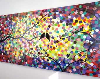 Bird Painting Love Birds Painting Colorful Canvas Art Tree Acrylic Paintings Large Abstract Over the Couch Art Over Bed Decor Dot Painting