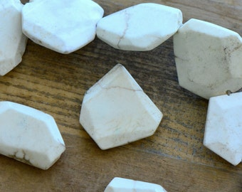 3 - LARGE Geometric Gemstone Beads - White - Gemstone Jewelry Supplies (DA212)