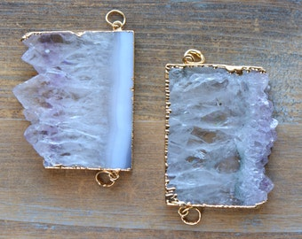 1 - Purple Amethyst Crystal Slice Connector Pendant in 24K Gold Plated Edging - Link Gem Gemstone Jewelry Making Supplies (AN063)