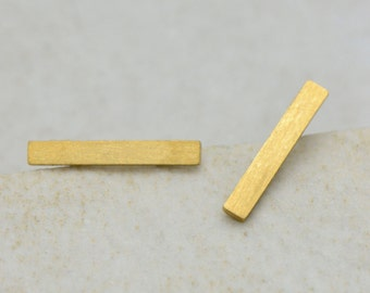 Geometric Rectangle Earring Posts, Brushed 24k Gold Plated Surgical Stainless Steel, Dainty Minimal Thing Rectangle Earring Posts & Studs