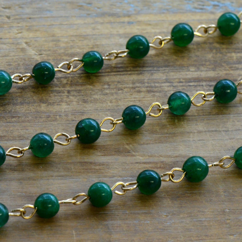 Gemstone Bead Chain Round GREEN Jade Bead Necklace Chain 6mm