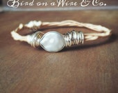Coin Pearl Guitar String Bangle-Guitar String Jewelry-Nashville.Memphis. Knoxville. Chattanooga. Tennessee. Bird on a Wire