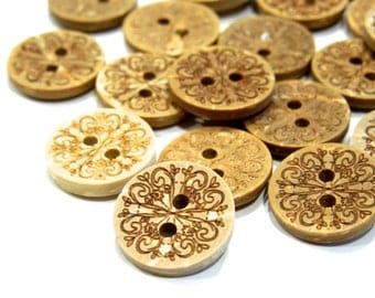SUPPLY: 35 Coconut Buttons - Natural Buttons - (17-C1-00004838)