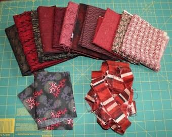 Fabric Scrap Destash, Lot of Fabric for Sale in Dark Reds and Blacks