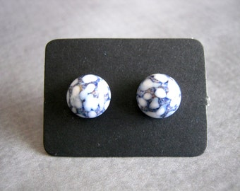Blue and White Stud Earrings : Small Glass
