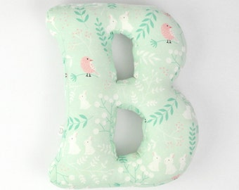 lovely letter pillow, personalized room decor/ illustrated with rabbits and leafs / for babies
