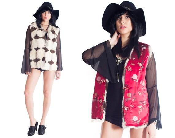 Vintage Real Rabbit Fur Reversible Silk Brocade Vest