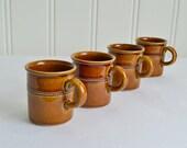 Small demitasse cups, vintage Swedish ceramic mocha and espresso mugs , old hoganas , brown stoneware