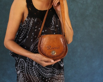 "Small vintage tooled leather bag / ""Rachel"" boho retro hand made bag /very cute monogram decorated festival shoulder bag"