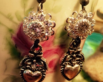 Brilliant, Sparkling, Earrings, Swarovski Crystal connecters, silver toned flower and heart By: Kari Wolf Designs
