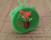 Vintage Rain Bonnet in Mini Case  Plastic Rain Cap  Unused New Old Stock Green Case with Green Rain Scarf