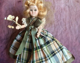Vintage Bridesmaid Doll 5.5 Inch Creepy Vintage Doll Green Plaid Gown Unmarked Possibly Nancy Ann Doll