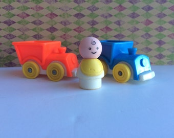 Vintage Fisher Price Little People Ride On Trains and Little People Baby Fisher Price Red Train, Blue Train