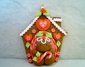 Gingerbread Man - Gingerbread House - Polymer Clay - Holiday Ornament