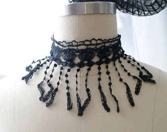 Statement Necklace Choker Black Lace Fringe Handmade Elegance Punk Rock , goth gothic Lolita cute steampunk Victorian