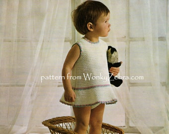 Baby Dress Crochet Pattern PDF unusual, crochet dress B112 from WonkyZebra