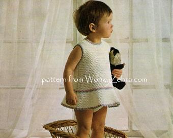 Baby Dress Crochet Pattern PDF unusual crochet dress B112 from WonkyZebra