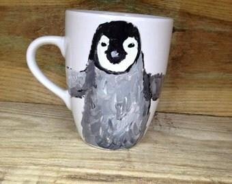 penguin , baby penguin, hand painted , mug, tea mug, for penguin lovers