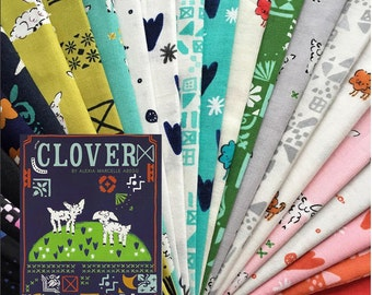 PRESALE - Clover - Half Yard Bundle of 16 Cotton prints - Alexia Abegg for Cotton + Steel - CLOVER-HY