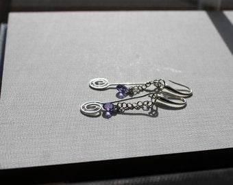 Lavender Crystal Swirl Earrings