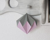 origami diamond | 4 1/2'' hanging home decor | origami kusudama | origami ball || nursery decor -pink silver mixed