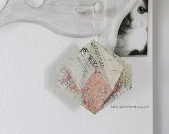 texture map diamond ball . paper diamond . origami kusudama . hanging home decor . origami ball -the world