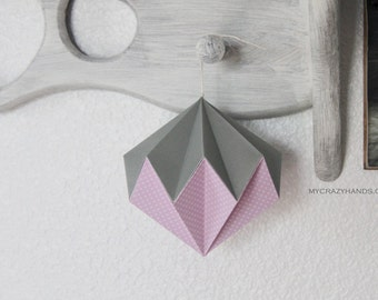origami diamond || 4 1/2'' hanging home decor || origami kusudama || origami nursery decor | origami ball -pink metallic gray mixed